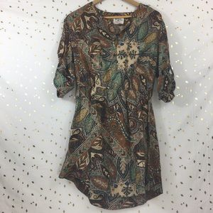 Anthropologie Holding Horses Brown Paisley Dress